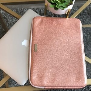 EUC Kate Spade Rose Gold Laptop Sleeve Case 13""